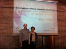 With Belén Álvarez of the Consejería de Educación, Cultura y Deportes of the Principado de Asturias Regional Government